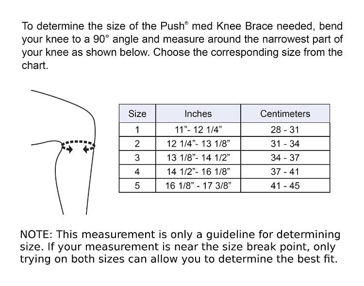 Push med Knee Brace Sizing Chart